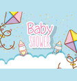 baby shower with fedding bottle and kite vector image
