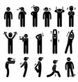 body stretching exercise stick figure pictograph vector image vector image