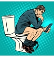 businessman thinker on toilet vector image vector image