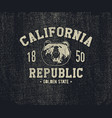 california t-shirt with grizzly bear head vector image