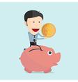 cartoon piggy bank in flat design vector image vector image