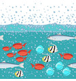 cartoon style fish in the ocean with water bubbles vector image vector image