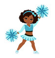 cheerleader in turquoise uniform with pom poms vector image vector image