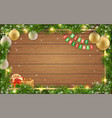 christmas card fir tree ball wooden background vector image