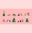 christmas cartoon people big collection isolated vector image