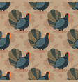 colorful pattern with cartoon turkey bird and vector image vector image