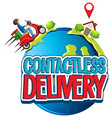 contactless delivery logo with bike man or courier vector image vector image