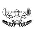 contour ornament leaves with muscle man lifting a vector image vector image