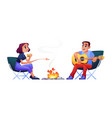 couple campers resting at campfire together vector image vector image