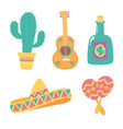 day dead guitar cactus tequila hat vector image vector image