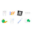 dental care icons in set collection for design vector image vector image