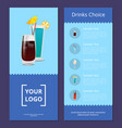 drinks choice cocktails mmenu advertisement poster vector image