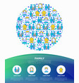 family concept in circle with thin line icons vector image