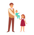 father carrying daughter twins and sisters kids vector image