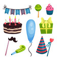 flat set of birthday party elements cake vector image