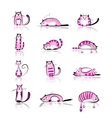 Funny pink cats collection for your design vector image vector image