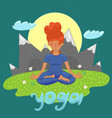 girl in lotus position on a background vector image