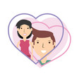 happy couple lover inside heart design vector image vector image