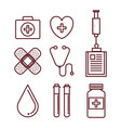 healthcare related objects design vector image vector image