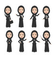 hijab muslim female character business woman vector image vector image