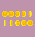 indian rupee coin rotating animation sprite sheet vector image vector image