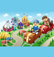 kids having fun in an amusement park vector image