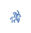 knight line icon concept knight flat vector image vector image