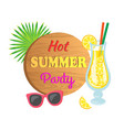 lemon cocktail and sunglasses summer party vector image