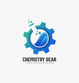 logo chemistry gear gradient colorful style vector image