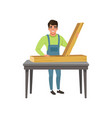 male professional carpenter character at work vector image vector image