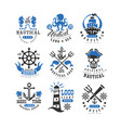Marine logo set design element for nautical