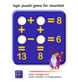 mathematical logic puzzle game for smartest solve vector image vector image