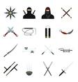 Ninja flat icons set vector image vector image