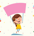 of kid holding placard vector image vector image