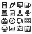 office supplies icons set on white background vector image