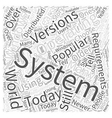 Operating System Requirements Word Cloud Concept vector image