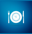 plate with clock fork and knife icon vector image vector image