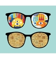 Retro sunglasses with robots reflection in it vector image vector image