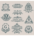 Set emblems monogram company logos business style vector image vector image