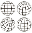 set globe technical picture contours of vector image vector image