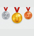 set gold silver and bronze medals with red vector image