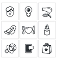 Set of Woman and her habits Icons Female vector image vector image