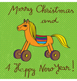 toy horse greetings card vector image