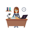 young beautiful girl working at the computer in vector image