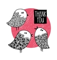 Set of doodle birds with hand drawn patterns vector image