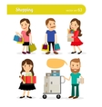 Shopping people with basket and cart vector image