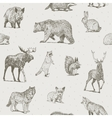 Animals drawings seamless pattern