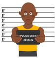 arrested african american man posing for mugshot vector image vector image