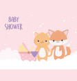 bashower fox tiger and cartoon decoration vector image