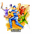 batsman and bowler playing cricket championship vector image vector image